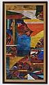 KAZUYA SAKAI, Sansui, Firmada, con gago - in y fechada 1989. Acuarela sobre papel de china sobre cartoncillo, 134 x 71 cm