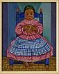 CORDELIA URUETA, Niña sentada, Firmado. Óleo sobre yute, 70 x 56 cm