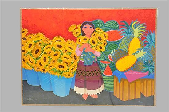 Trinidad Osorio. (México 1929-2002). Serigrafía, serie 3/200. Niña con girasoles y frutas. Sin enmarcar, firmado y sin fechar.
