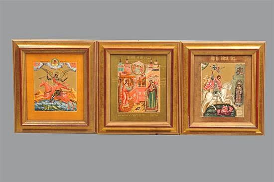 Tres iconos religiosos. Origen ruso. Diseño del taller Willi Drache. En porcelana. Series 232/3000. Con certificados de autenticidad.