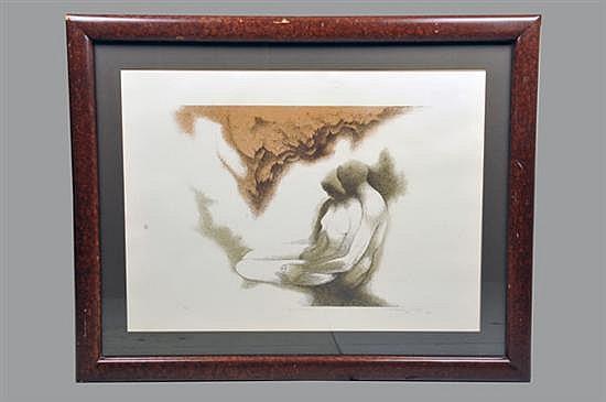Guillermo Meza. Bajo el manzano. Litografía, serie 32/100. Enmarcado, firmado y fechado 1982. Dimensiones: 45.5 x 59 cm.