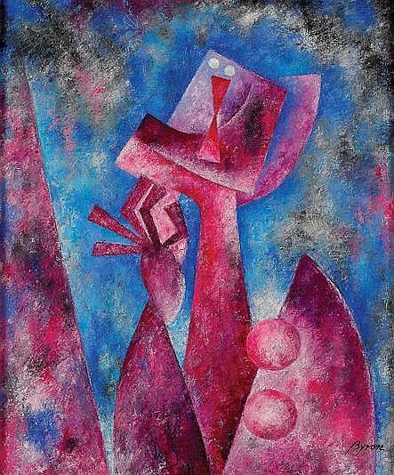 Byron Gálvez, Personaje, Firmado, Óleo sobre tela, 59 x 49 cm, Los recursos de ésta venta serán en beneficio de la Fundación VIDA