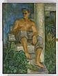 JUAN SORIANO, Retrato de hombre, Firmado y fechado 49. Óleo sobre tela, 95 x 70 cm
