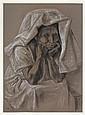 FRANCISCO ZÚÑIGA, Mujer con tocado, Firmado y fechado 1975. Crayón y pastel sobre papel, 66.5 x 47.5 cm