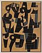 CARLOS MÉRIDA, Proyecto para una pintura, Firmado. Gouache y lápiz de grafito sobre papel kraft, 89 x 68.5 cm