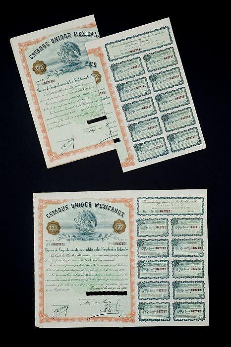Bonos de Liquidación de los Sueldos de los Empleados.  100  pesos.  Serie