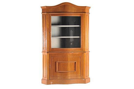Vitrina esquinera madera con puerta abatible de vidrio ele for Puertas de madera con cristal