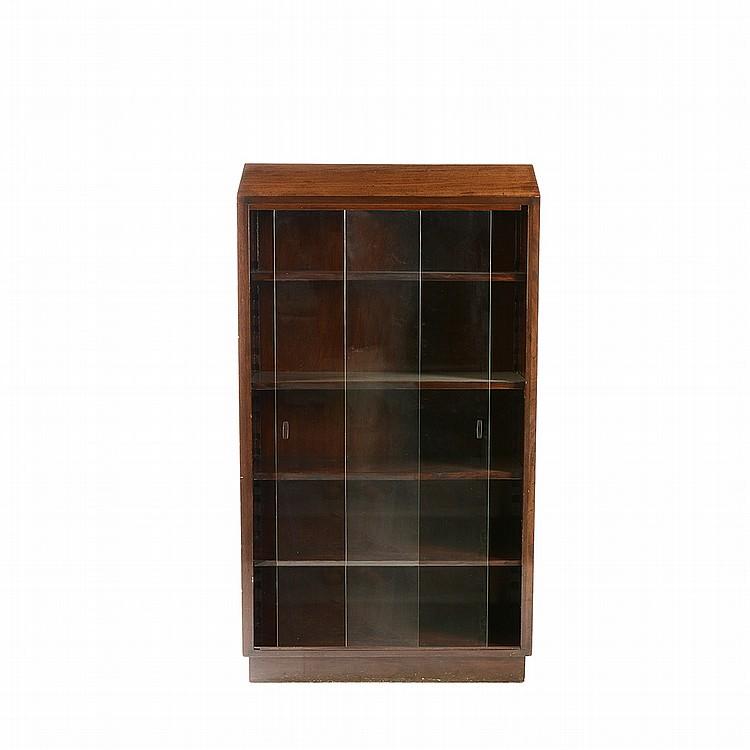 Librero elaborado en madera entintada color caf con entre - Puertas corredizas de vidrio ...