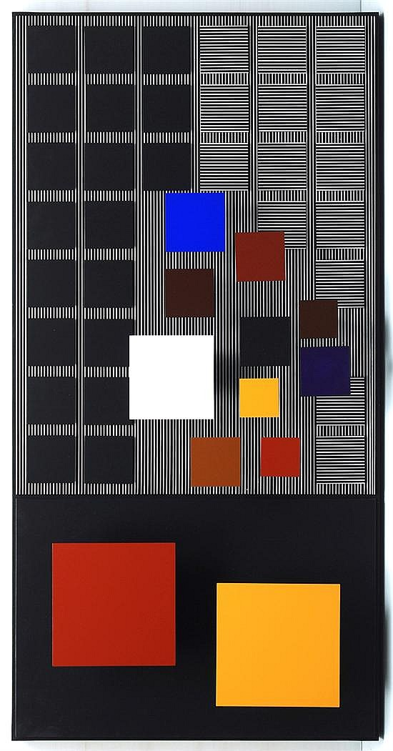 Jesus Rafael Soto, Sienne and  Ocher inferieur, signed and dated on the backside 2001, Painting on wood. 59 x 29.5 inches.