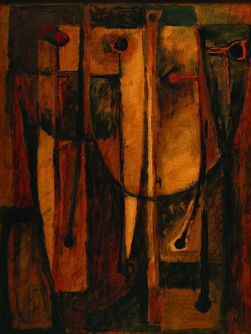 GILBERTO ACEVES NAVARRO, Máscaras ocres, Sin firma Tinta sobre cartón, 65 x 48.5 cm