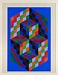 VICTOR VASARELY, Gestalt II, Ca. 1969, Firmada. Serigrafía 162 / 225, 74 x 50 cm
