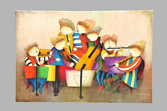 Joyce Roybal. (US 1955-). Sin título (Músicos). Óleo sobre lienzo. Sin enmarcar, firmado y sin fechar. Dimensiones: 61.5 x 91.5 cm.