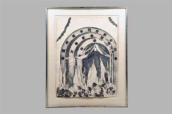 Firmado Margolis. Sin título (Procesión). Grabado sobre papel, serie, P/A. Enmarcado, firmado y sin fechar. Dimensiones: 81 x 60 cm.