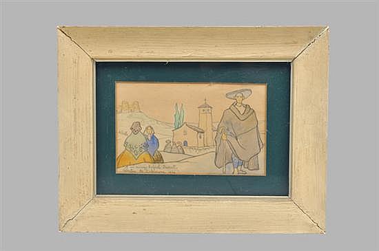Valentín de Zubiaure. Sin título (Parroquia con feligreses). Lápiz sobre papel. Enmarcado (desprendido), firmado y fechado 1924.