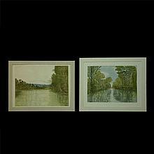 Mario Reyes. Lote de grabados. Consta de: a) Paisaje. Serie P/E. b) Paisaje con río. Serie C/A 7/10. Piezas: 2