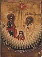ICONO DE VIAJE. LA VIRGEN MARÍA Y LA SANTÍSIMA TRINIDAD. RUSIA, CA. 1900. Óleo sobre madera. 8.5 x 6 cm.
