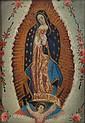 VIRGEN DE GUADALUPE. MÉXICO, CA. 1900. Óleo sobre lámina de zinc. 23.5 x 16.5 cm.