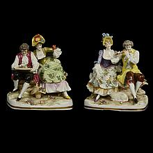 Lote de figuras decorativas. Alemania. Principios del siglo XX. Elaboradas en porcelana policromada Schwarza-Saalbahn. Piezas: 2