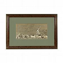 Referido Valenti. Italia. Siglo XX. Puerto pesquero. Placa de resina con baño de plata. Referido y firmado Valenti. Enmarcado.
