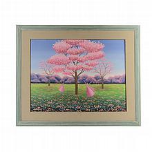 Patricia Strempler. Siglo XX. Niñas jugando y paisaje de árboles con flores. Acrílico sobre tela. Firmado. Enmarcado.