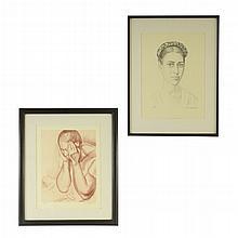 Raúl Anguiano. Lote de litografías. Consta de: a) Mujer llorando. Serie E/E. b) Mujer con trenza. Serie E/E. Piezas: 2