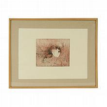 Nunik Sauret. Mujer abstracta. Grabado, serie 2/60. Firmado y fechado 86. Enmarcado.