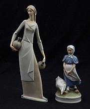 Lote de figuras decorativas. Origen español y danés. Elaboradas en porcelana Nao y Royal Copenhagen.