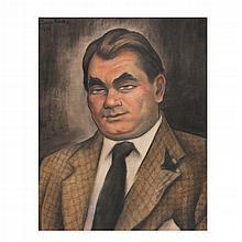 DIEGO RIVERA, Retrato de Oskar Homolka, Firmada y fechada 1939. Caseína sobre papel, 57 x 45.5 cm