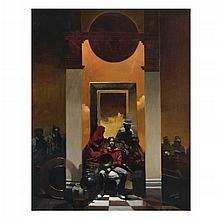 ROGER MANTEGANI, Llegando al juego, Firmado y fechado 2002. Óleo sobre lino, 100 x 80 cm, Con certificado.