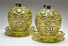 A PAIR OF BOHEMIAN GLASS ENAMELED AND GILT CANDY DISHES