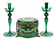 A BOHEMIAN GLASS TABLE GARNITURE
