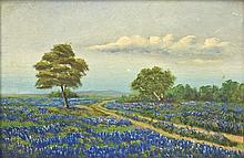 ANONYMOUS , (American, 20th century), Bluebonnet Landscape, Oil on board, H 12 x W 18 inches.
