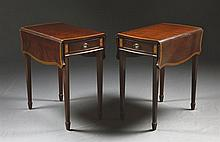 A PAIR OF GEORGE III STYLE MAHOGANY AND SATINWOOD PEMBROKE TABLES