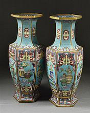 A PAIR OF CHINESE CLOISONNE PALACE VASES