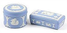 TWO WEDGWOOD BLUE JASPERWARE BOXES
