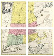 JOHANN MICHAEL PROBST, (German/American, 1757-1809), A Map of the Most Inhabited Parts of New England, Four assembled hand colored e...