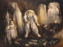 FRANCISCO MORENO CAPDEVILA, (Mexican, born 1926), Espectros Ibéricos, 1963, Oil on canvas, H 55¼ x W 72½ inches.