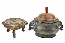 TWO ASIAN ARCHAISTIC BRONZE CENSERS