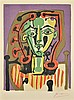 AFTER PABLO PICASSO, (Spanish/French, 1881-1973), Figure au Corsage Raye, 3 Avril 1949, Color lithograph, book plate, H 10½ x W 7¾ i..., Pablo Picasso, $450