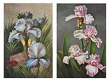 ARTIST UNKNOWN, (20th century), Floral Still Life, Oil on canvas (two works), H 36 x W 24 inches.