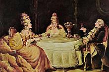 ARTIST UNKNOWN, (20th century), Parlor Scene, Oil on canvas, H 24 x W 36 inches.