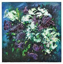 EMERIC VAGH WEINMANN, (French, 1919-2012), Floral Still Life, Oil on canvas, H 60 x W 60 inches.