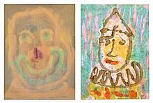 HENRI PFEIFFER, (German/French, 1907-1994), Untitled, Watercolor (two works), H 25 x W 18 inches (each).