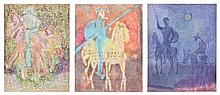 HENRI PFEIFFER, (German/French, 1907-1994), Untitled, Watercolor (three works), H 25 x W 19 inches (each).