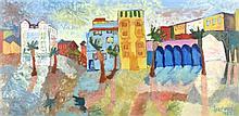 MICHAEL LAWRENCE, (American, born 1943), Cityscape, 1962, Oil on canvas board, H 23½ x W 46½ inches.
