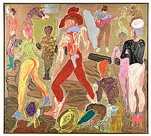 MICHAEL LAWRENCE, (American, born 1943), One Life to Loose #1, 1981, Acrylic on canvas, H 54 x W 53½ inches.