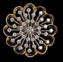 A DIAMOND AND 14 KARAT GOLD PENDANT BROOCH