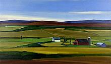 P. STARK, (20th century), Farm & Fields, 1990, Oil on canvas, H 27½ x W 47¼ inches.