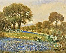 ROLLA SIMS TAYLOR, (American, 1872-1970), Bluebonnets, Oil on canvas board, H 15½ x W 19½ inches.