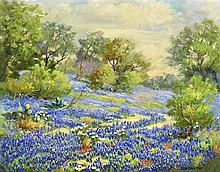 SANTA DURAN, (American, 1909-2002), Bluebonnets, Oil on canvas board, H 11½ x W 19½ inches.